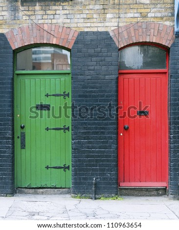 Green and red old exterior doors, Ireland