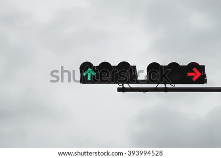 green and red on traffic light - stock photo