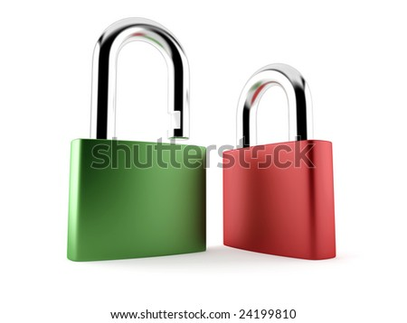 Green and red padlocks isolated on white