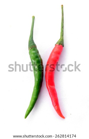 Green and Red pepper isolated on a white background - stock photo