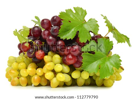 Green and red ripe grape isolated on the white background - stock photo