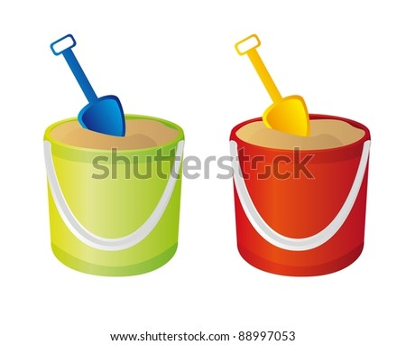 green and red sand bucket, and shovel vector. illustration - stock photo