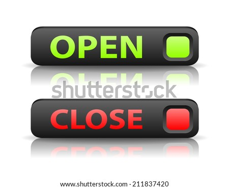 green and red state indicator buttons with light shadow and reflection - stock photo
