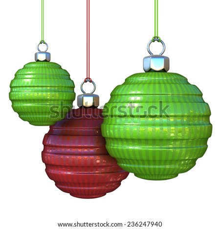 Green and red striped, hanging Christmas balls. isolated on white background. 3D render illustration. - stock photo