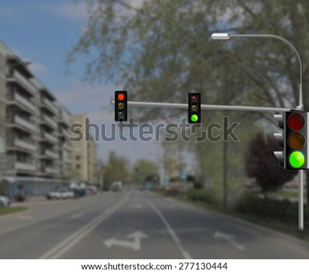 Green and red traffic lights           - stock photo