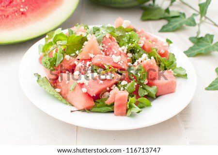 Green and red watermelon bright salad horizontal