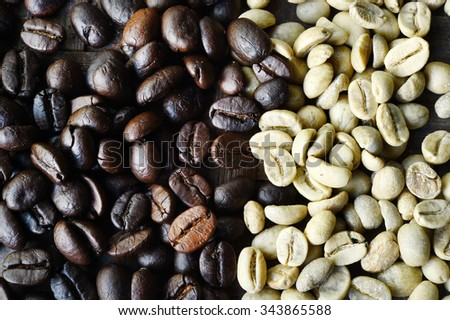 green and roasted coffee beans background