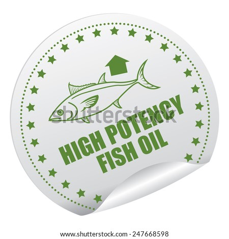 Green and Silver High Potency Fish Oil Sticker, Icon, Badge, Sign or Label Isolated on White Background  - stock photo