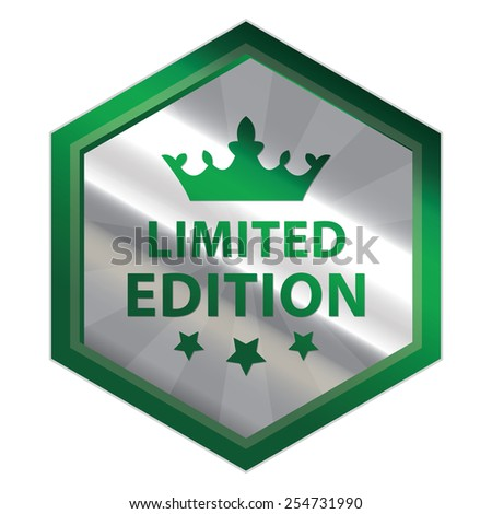 Green and Silver Metallic Hexagon Limited Edition Button, Icon, Label, Sign or Sticker Isolated on White Background  - stock photo
