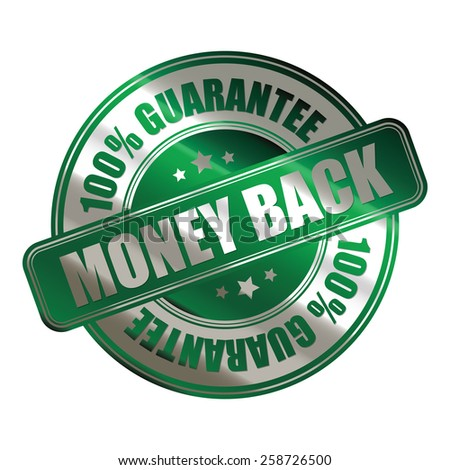green and silver metallic money back 100% guarantee sticker, badge, icon, stamp, label, banner, sign isolated on white  - stock photo