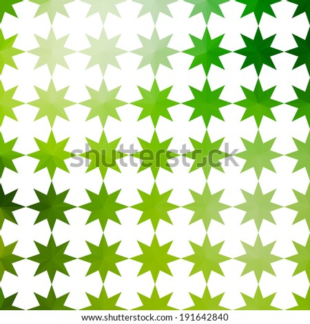 Green and white background with geometric ornament with stars. Raster version - stock photo