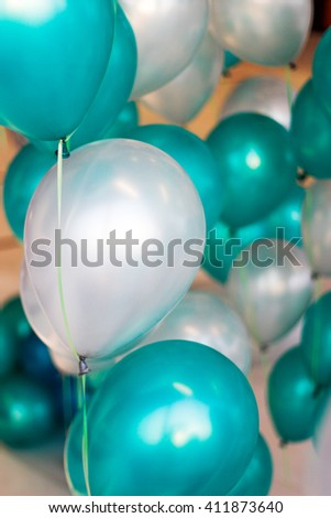 green and white balloon with happy celebration party for background - stock photo