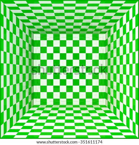 Green and white chessboard walls room background - stock photo