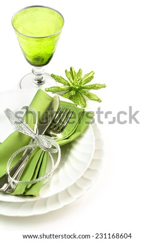 green and white dining set isolated on white background - stock photo