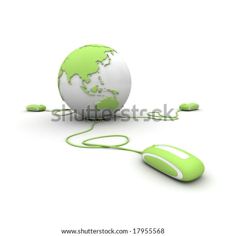 Green and white Earth Globe connected with three computer â??mousesâ?.