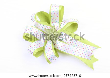 Green and white ribbon Bow isolated on White Background - stock photo