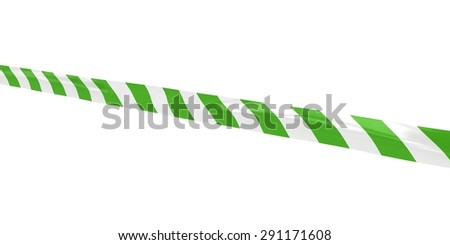 Green and White Striped Barrier Tape Line at Angle - stock photo