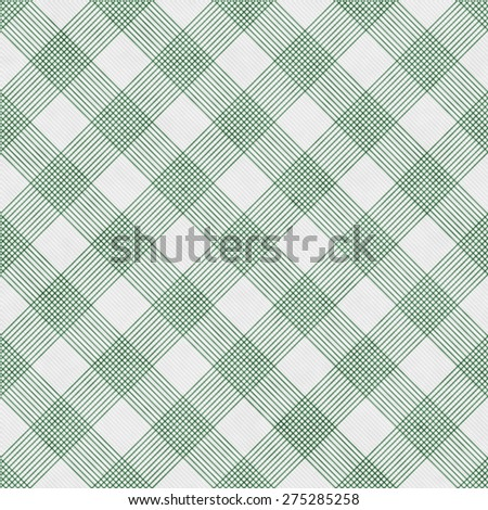 Green and White Striped Gingham Tile Pattern Repeat Background that is seamless and repeats - stock photo