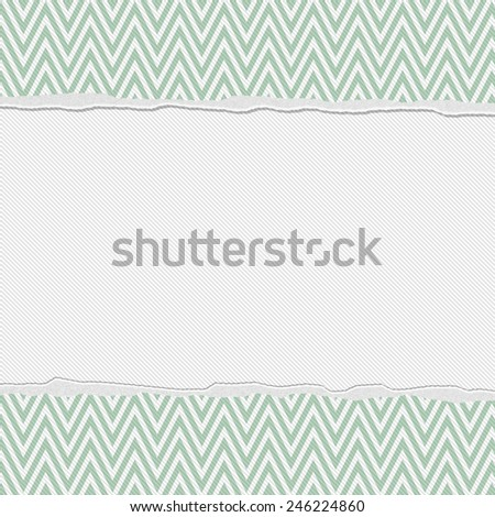 Green and White Torn Chevron Frame Background with center for copy-space, Classic Torn Chevron Frame - stock photo