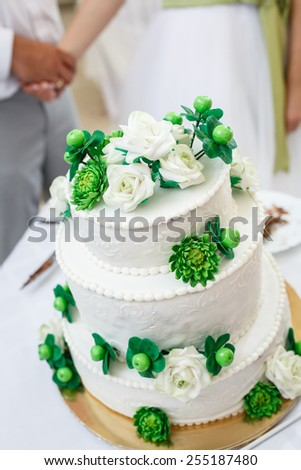 green and White Wedding Cake with Roses, chrysanthemum flowers and apples - stock photo