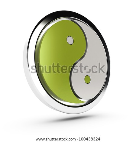 green and white yin yang symbol over white background with shadow - stock photo
