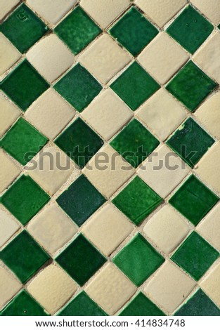 Green and yellow ceramic tile texture for background - stock photo