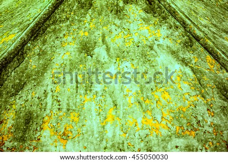 Green and yellow rusty metal texture background