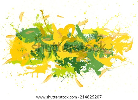 Green and yellow spatters on the white background.