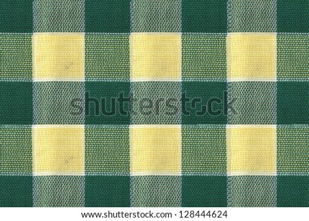 Green and yellow tablecloth pattern - stock photo