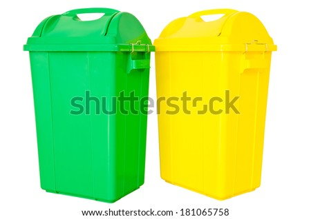 green and yellow  trash on isolated white background, clipping path.