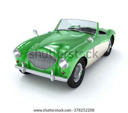 Green antique car model on a white background