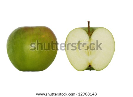 Green apple and a half on a white background