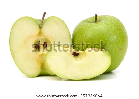 green apple and it's slice isolated on white - stock photo