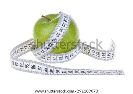 green apple and measure tape, isolated on white