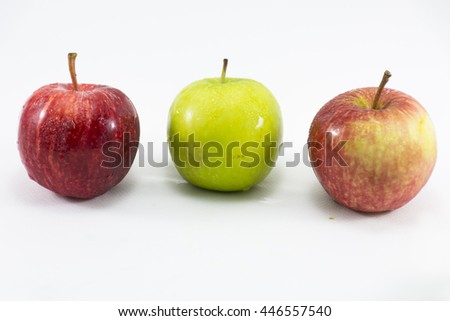 Green apple and red apple isolated on white background.Fruit for health and diet and hi-vitamin c. - stock photo