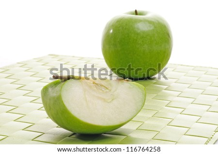 Green apple and slice green apple - stock photo
