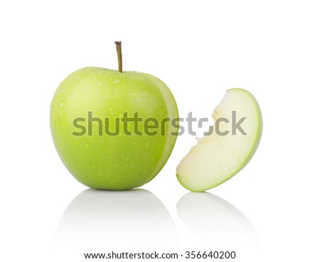 green apple and slice isolated on a white background - stock photo