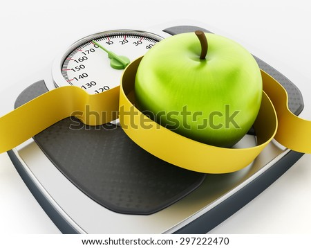 Green apple and tape measure on weight scale isolated on white background - stock photo