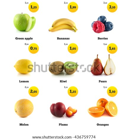 Green apple, banana and lemon. Kiwi, berries and pear. Melon galia, plum and orange isolated. Fresh natural apple. Health organic apple. Food with price tags on white. Fresh tasty apple. - stock photo