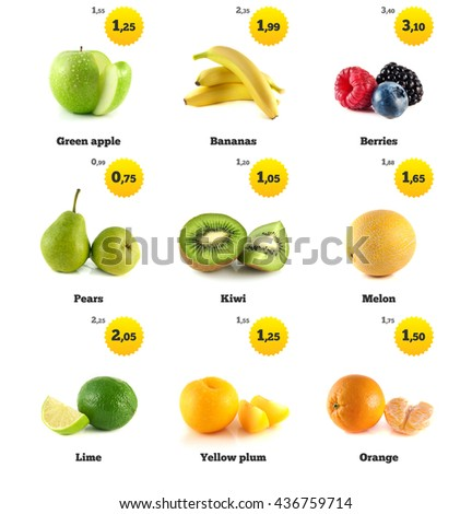 Green apple, banana and lime. Kiwi, berries and pear. Melon galia, yellow plum and orange isolated. Fresh natural apple. Health organic apple. Food with price tags on white. Fresh tasty apple. - stock photo