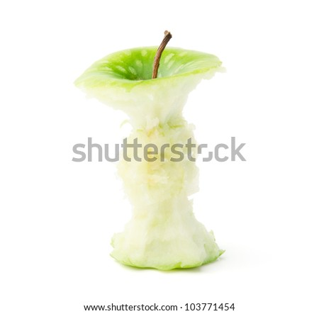 Green Apple Core Isolated on White - stock photo