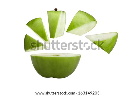 Green apple cut on pieces.