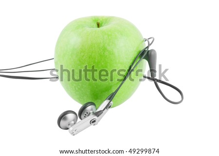 Green apple device isolated on white