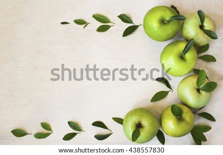 Green apple fresh on wood background,copy space.   - stock photo
