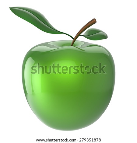 Green apple fruit nutrition antioxidant fresh ripe exotic agriculture organic healthy icon. 3d render isolated on white background - stock photo