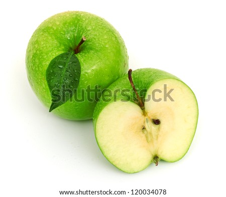 Green apple fruits isolated on white background - stock photo