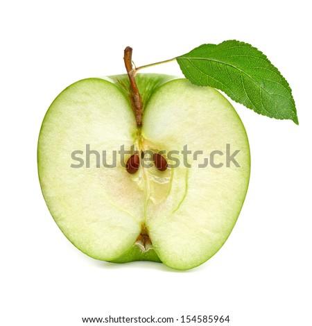 Green apple half on white background - stock photo