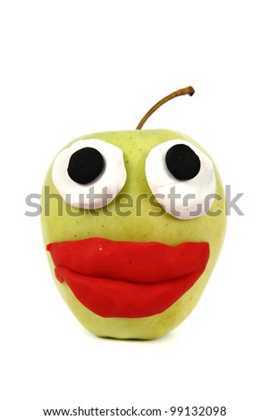 green apple is smiling isolated on the white background - stock photo
