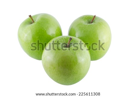 green apple isolated on white bacdground has clipping path - stock photo