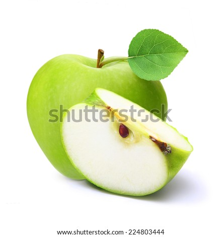 Green apple isolated on white background.